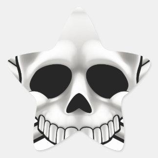 Sticker Étoile Crâne et os croisés