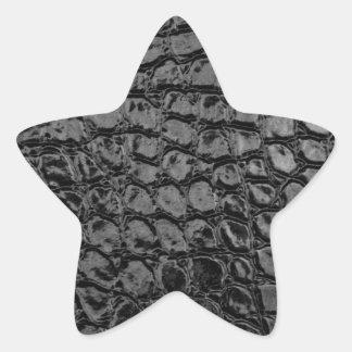Sticker Étoile Cuir noir de Faux d'alligator