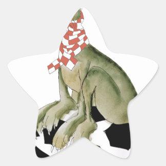Sticker Étoile défenseur heureux de chien du football de rouges