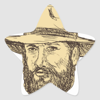 Sticker Étoile Dessin barbu de tête de cowboy