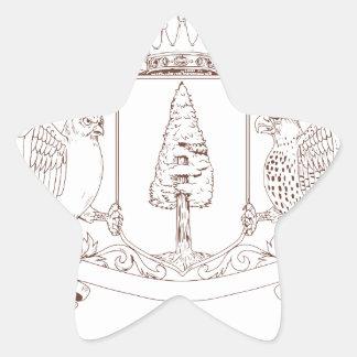 Sticker Étoile Dessin de crête de couronne de séquoia de hibou et