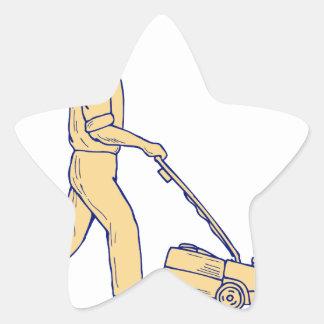 Sticker Étoile Dessin de fauchage de tondeuse à gazon de