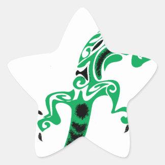 Sticker Étoile Dessin de lézard vert