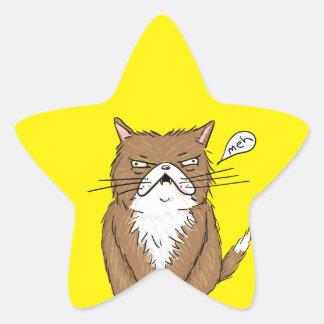 Sticker Étoile Dessin grincheux drôle de chat de Meh