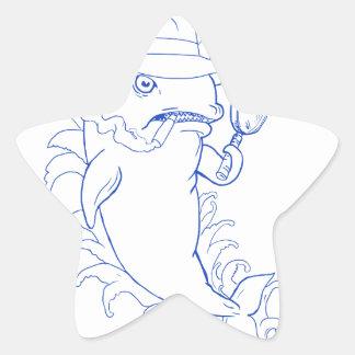 Sticker Étoile Dessin révélateur d'épaulard d'orque