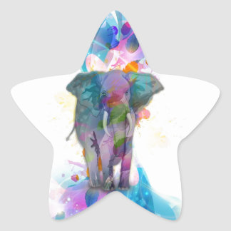 Sticker Étoile éléphant coloré mignon d'éclaboussures de couleurs