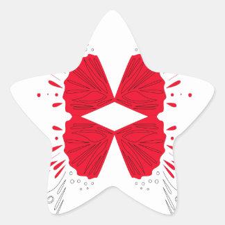 Sticker Étoile Ethno rouge de tatouage de henné sur le blanc