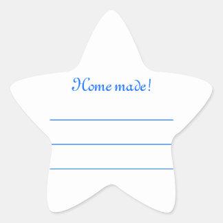 """Sticker Étoile Etiquette confiture bleu """"Home made"""""""