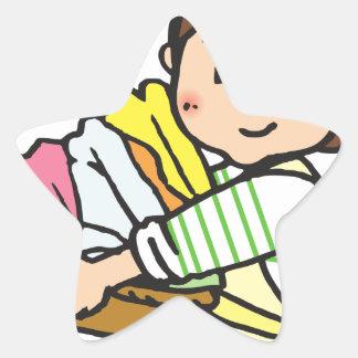 Sticker Étoile Femme avec le panier de blanchisserie
