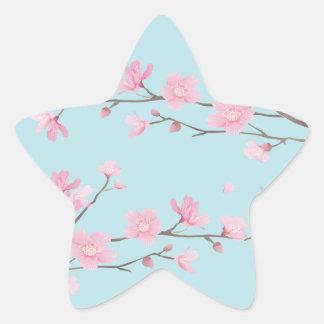 Sticker Étoile Fleurs de cerisier - bleu de ciel
