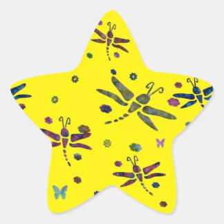 Sticker Étoile fleurs et libellules colorées