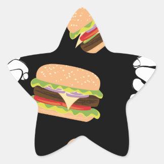 Sticker Étoile Grand hamburger savoureux et Hands3