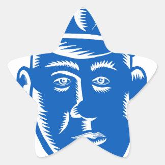Sticker Étoile Gravure sur bois en tête de policier