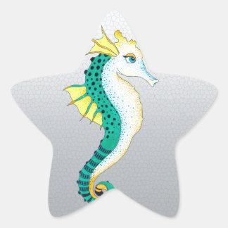 Sticker Étoile gris turquoise d'hippocampe