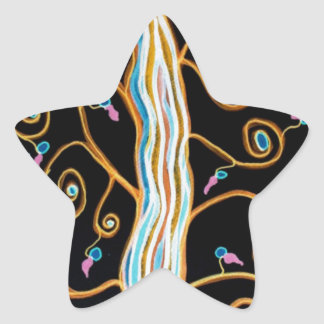 Sticker Étoile Hirondelles et Joyeuses Fêtes d'arbre