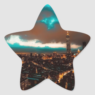 Sticker Étoile Horizon de nuit de Taïpeh