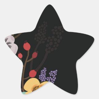 Sticker Étoile Illustration florale sur l'arrière - plan noir