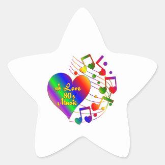 Sticker Étoile J'aime la musique 80s