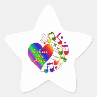 Sticker Étoile J'aime les années 70 la musique