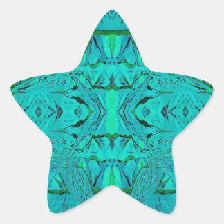 Sticker Étoile Joli motif tribal bleu vert au néon