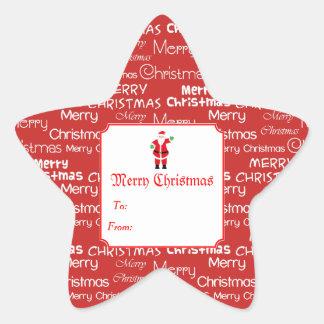 Sticker Étoile Joyeux Noël et cadeau du père noël