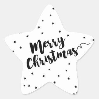 Sticker Étoile Joyeux Noël - typographie et étoiles de manuscrit