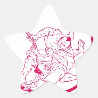 Sticker Étoile Jui samouraï Jitsu combattant le dessin d'Enso