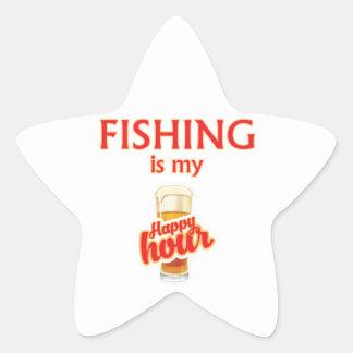 Sticker Étoile La pêche est mon heure heureuse