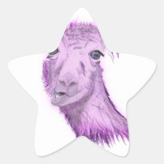 Sticker Étoile Lama snob rosâtre