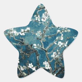 Sticker Étoile L'amande de Vincent van Gogh fleurit Teal foncé