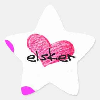 Sticker Étoile Langue danoise de conception d'amour