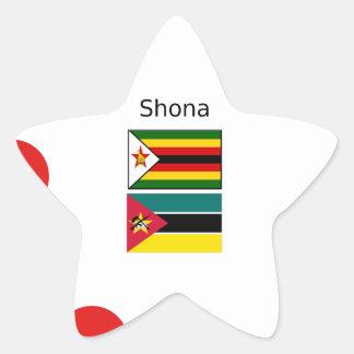 Sticker Étoile Langue de Shona et drapeaux du Zimbabwe et de la