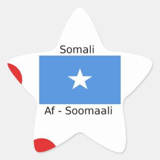 Sticker Étoile Langue somalienne et conception de drapeau de la