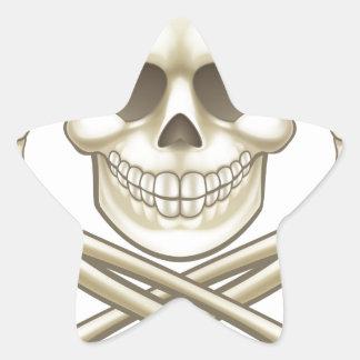 Sticker Étoile Le crâne de bande dessinée et le pirate d'os