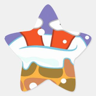 Sticker Étoile Le père noël en bas de la cheminée