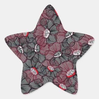 Sticker Étoile ligne fleur