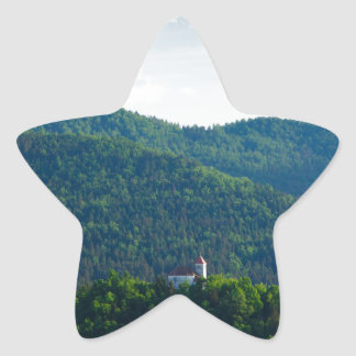 Sticker Étoile Lumière d'après-midi au-dessus d'église