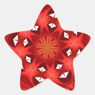 Sticker Étoile Mandala rouge de camélia