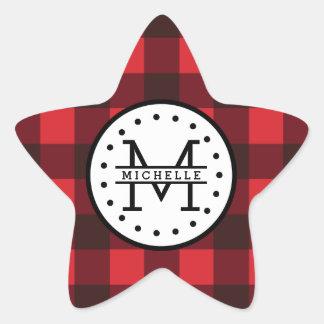 Sticker Étoile Monogramme rouge de nom de bûcheron de plaid de