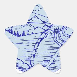 Sticker Étoile Montagnes de libellule dans le dessin d'ailes