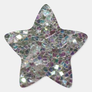 Sticker Étoile Mosaïque argentée colorée scintillante