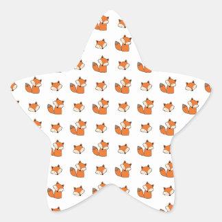 Sticker Étoile motif de renards rouges