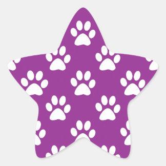 Sticker Étoile Motif pourpre et blanc d'empreintes de pattes
