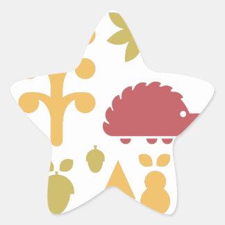 Sticker Étoile Motif sans couture d'automne avec la forêt