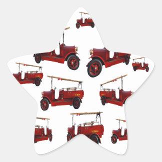 Sticker Étoile Motif vintage rouge de camion de pompiers,