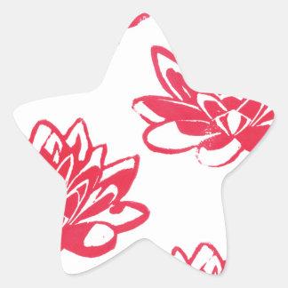 Sticker Étoile Nénuphars rouges