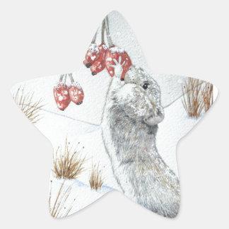 Sticker Étoile Noël mignon de faune de scène de neige de baies de