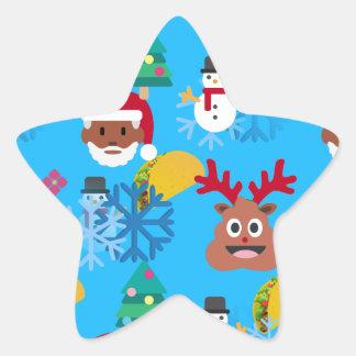 Sticker Étoile Noël noir de taco de père Noël
