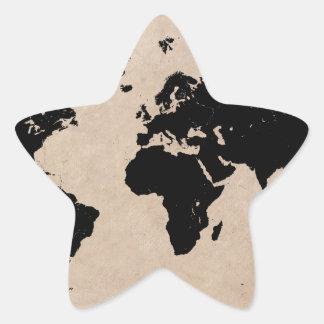 Sticker Étoile noir de carte du monde