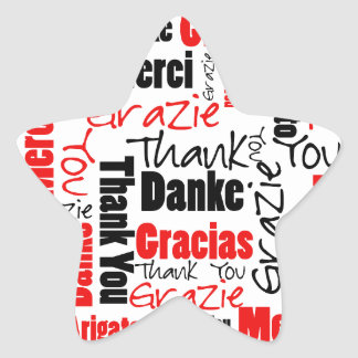 Sticker Étoile Nuage noir et rouge de mot de Merci
